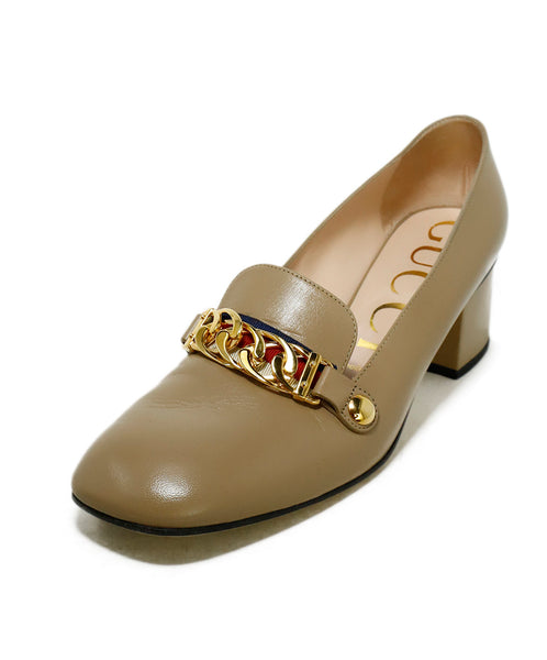 Gucci Heels US 8.5 Neutral Beige Leather Gold Trim Shoes 1