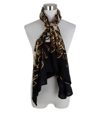 Gucci Black Brown Print Wool Cashmere Scarf 3