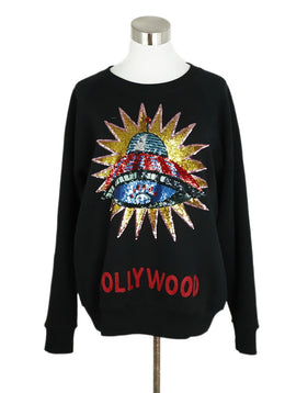 Gucci Black Cotton Hollywood UFO Sequins Sweatshirt 1