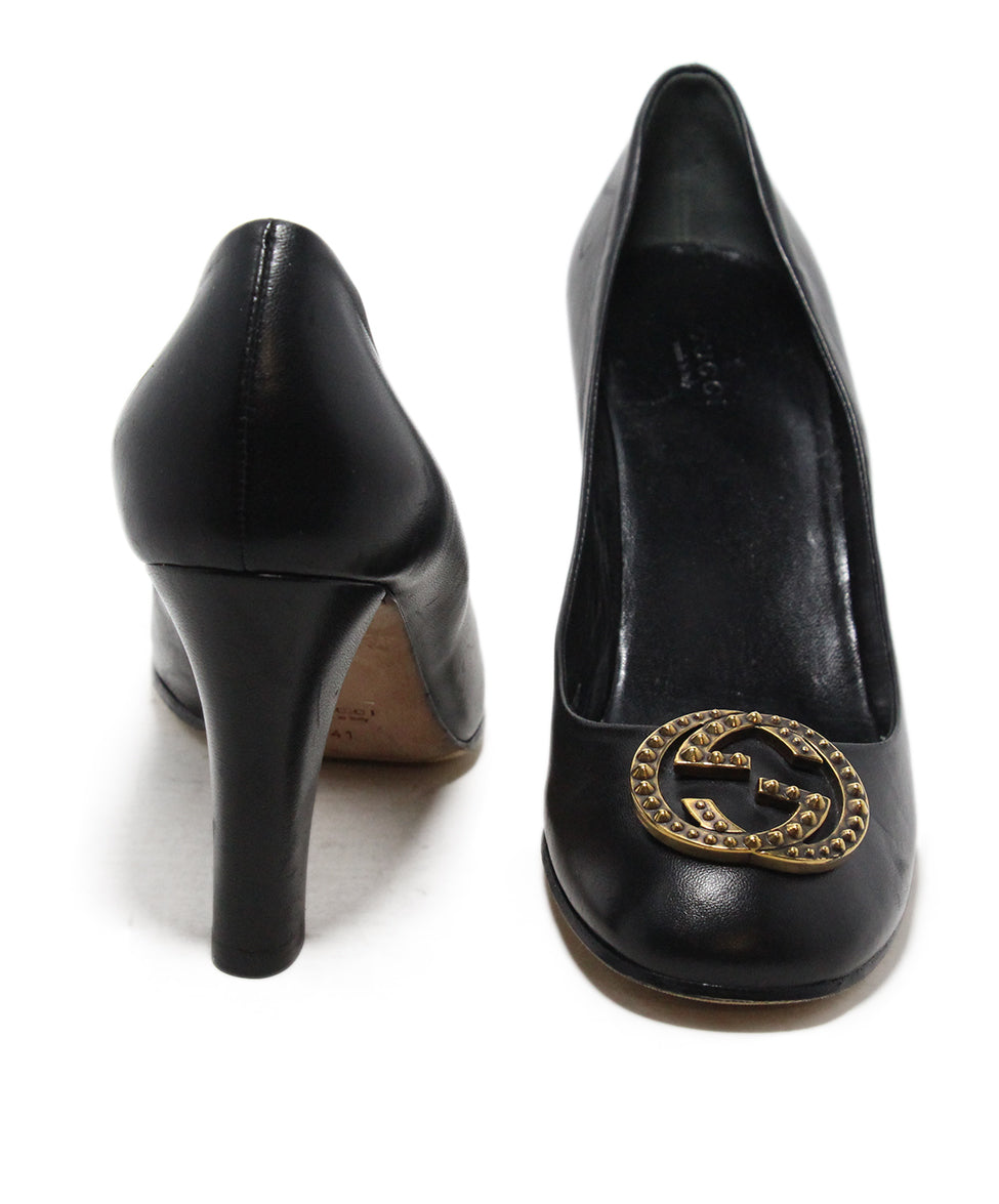 Gucci black gold GG buckle heels 3
