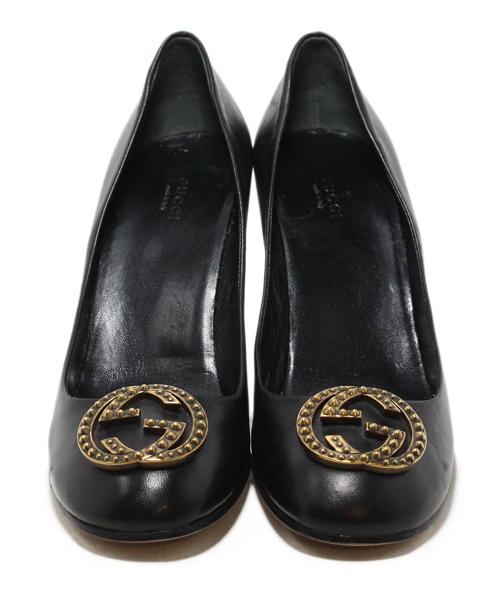 Gucci black gold GG buckle heels 4