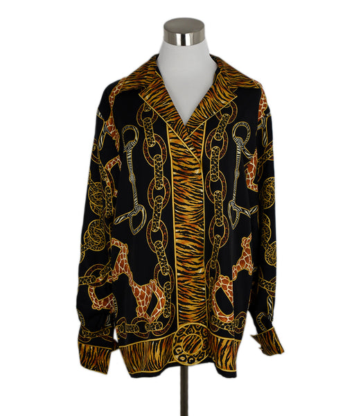Gucci Black Gold Animal Print Horsebit Top Blouse 1