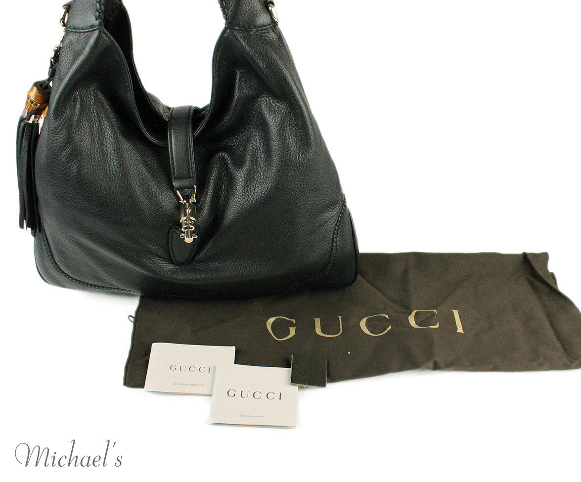 Gucci Black Leather Tote Bag w/ Dust Cover - Michael's Consignment NYC  - 13