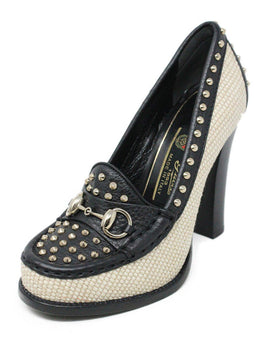 Gucci Black Leather Beige Canvas Studs Toggle Trim Shoes