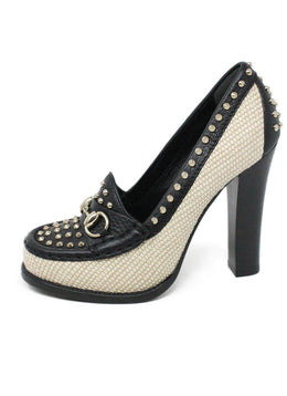 Gucci Black Leather Beige Canvas Studded Heels Size 6.5
