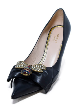 Gucci Queen Margaret Bee Bow Black Pointy Toe Pump 1