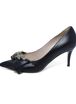 Gucci Queen Margaret Bee Bow Black Pointy Toe Pump Sz. 39.5 | Gucci