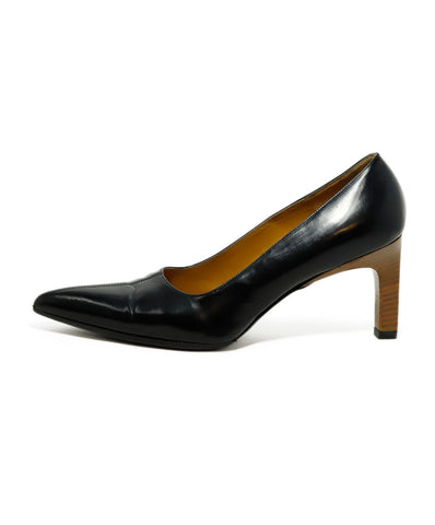 Gucci Black Leather Brown Heel Heels 1