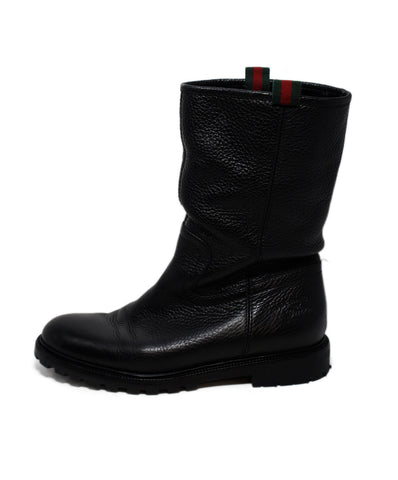 Gucci Black Leather Fur Lining Boots 1