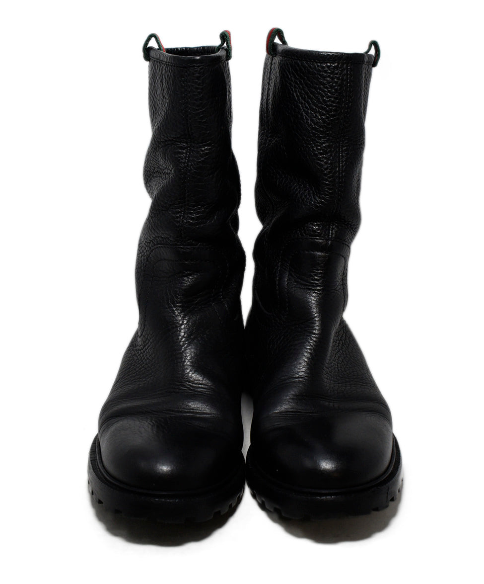 Gucci Black Leather Fur Lining Boots 4