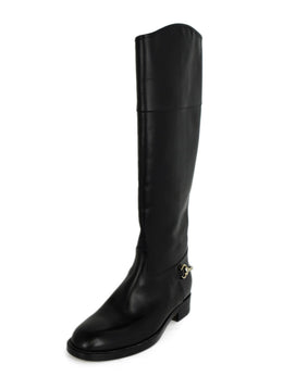 Gucci Black Leather Gold Toggle Boots 1