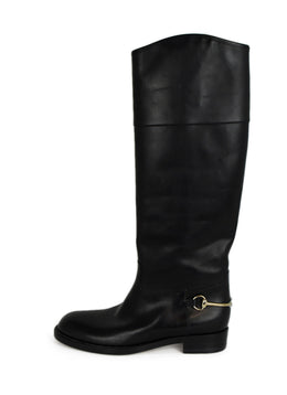 Gucci Black Leather Gold Toggle Boots 2