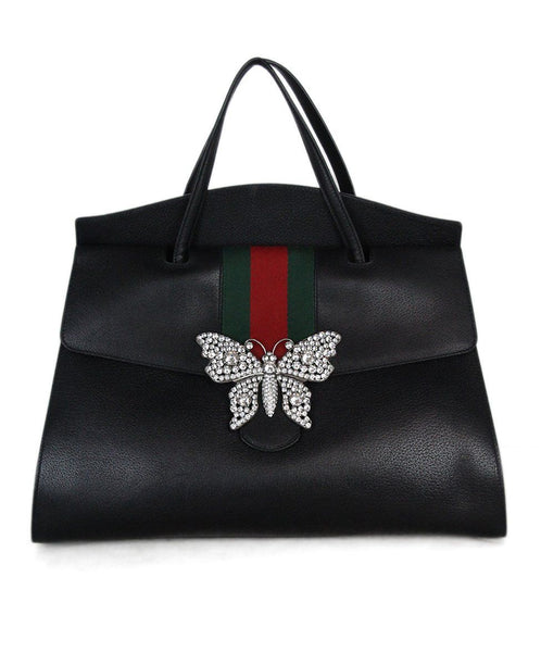 Gucci black leather red green Totem Tote Butterfly Tote 1