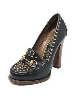 Gucci Black Leather Studs Toggle Trim W/Dust Cover Shoes