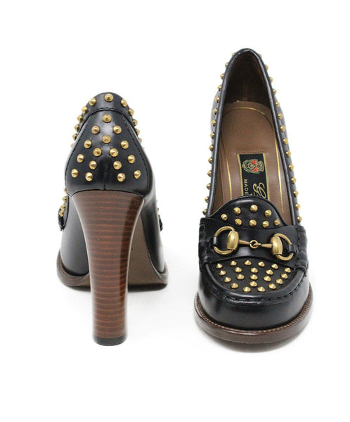 Gucci Black Leather Studded Heels with Horsebit Sz 6
