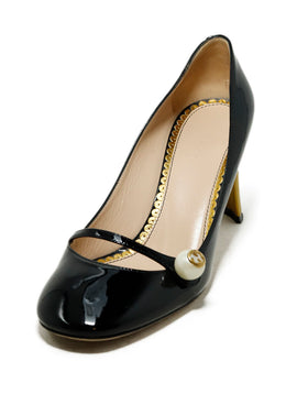 Gucci Heels Shoe Size US 6.5 Black Patent Leather Pearl Detail Gold Heel Shoes 1