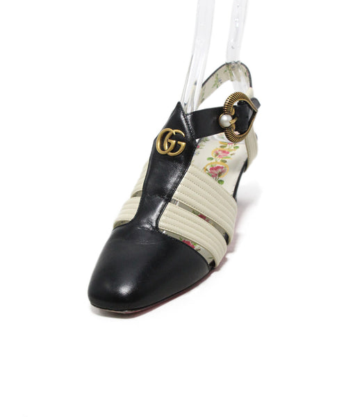 Gucci black white leather gold trim shoes 1