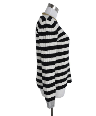 Gucci Black White Wool Cashmere Stripes Sweater 1