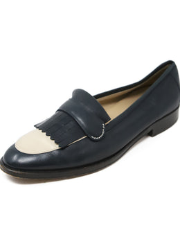 Gucci Navy Cream Leather Vintage Loafers 1