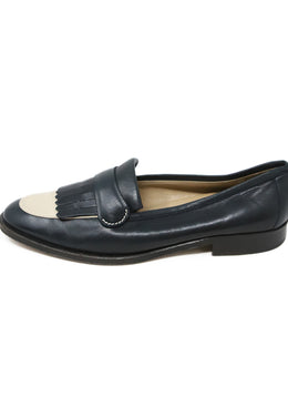 Gucci Navy Cream Leather Vintage Loafers 2
