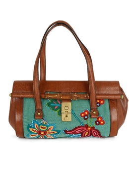 Gucci Brown Cognac Lizard Embroidery Satchel Handbag 1
