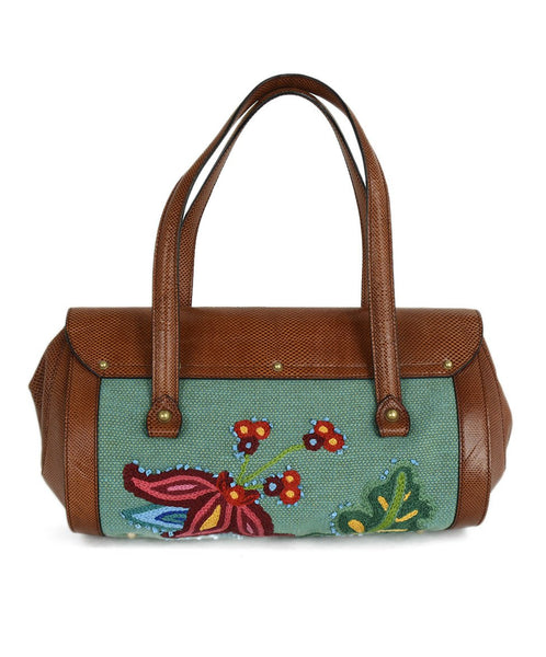 Gucci Brown Cognac Lizard Embroidery Satchel Handbag | Gucci