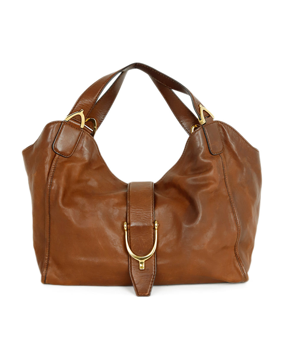 Gucci Brown Leather Hobo Handbag 1