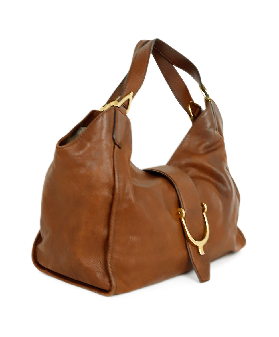 Gucci Brown Leather Hobo Handbag 2