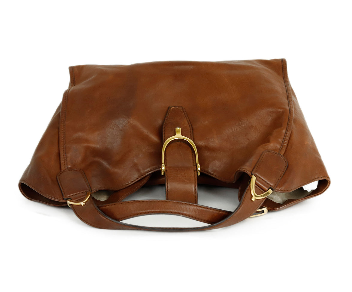 Gucci Brown Leather Hobo Handbag 6