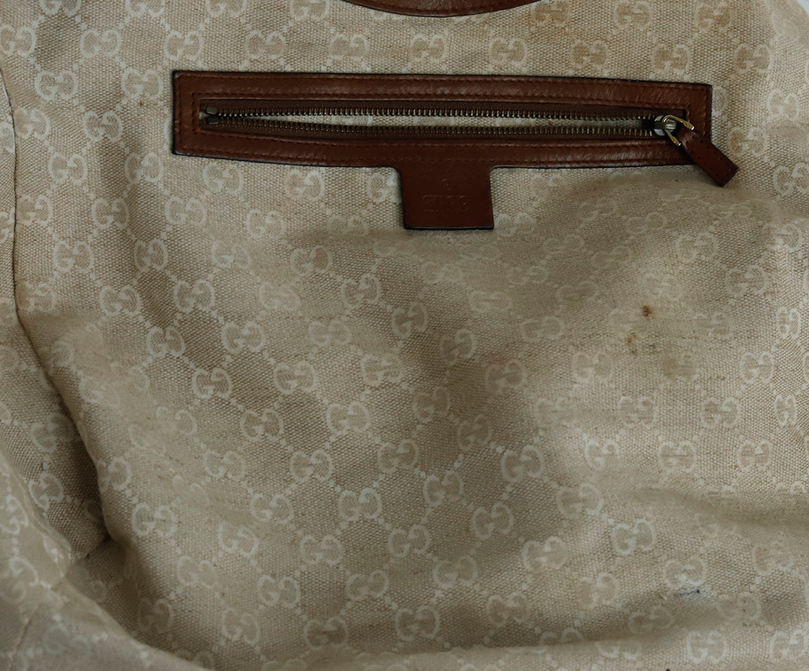 Gucci Brown Leather Hobo Handbag 8