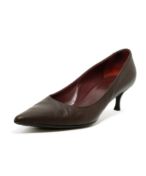 Gucci Brown Leather Pointed Toe Heels 1
