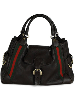 Gucci Brown Leather Red Green Stripe Shoulder Bag Handbag | Gucci