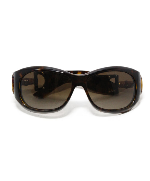 Gucci Brown Plastic Bamboo Trim Sunglasses 1