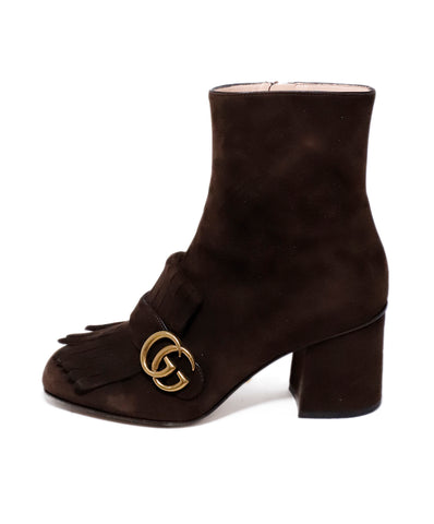 Gucci Brown Suede Gold Logo Trim Booties 1