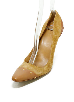 Gucci Brown Tan Suede Leather Gold Studded Heels 1