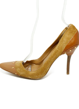 Gucci Brown Tan Suede Leather Gold Studded Heels 2