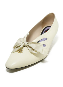 Gucci Cream Leather Bow Detail Kitten Heels Sz. 39 | Gucci