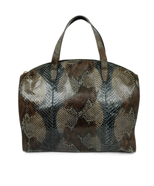 Gucci Grey Charcoal Brown Python Satchel Handbag 1