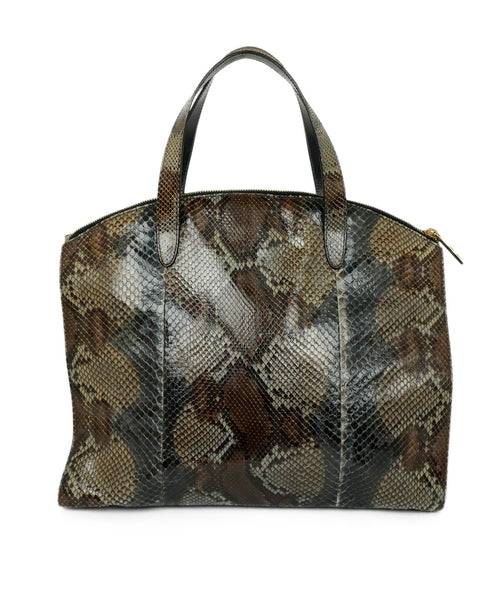Gucci Grey Charcoal Brown Python Satchel Handbag 2