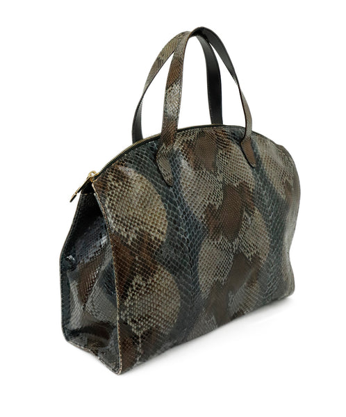 Gucci Grey Charcoal Brown Python Satchel Handbag 3