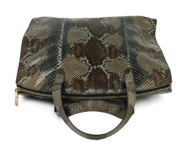 Gucci Grey Charcoal Brown Python Satchel Handbag 5