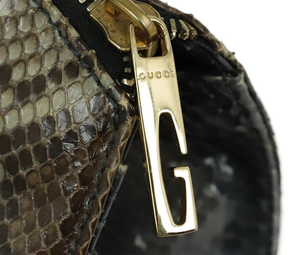 Gucci Grey Charcoal Brown Python Satchel Handbag 8