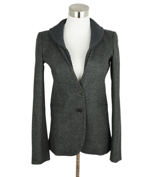 Gucci Grey Charcoal Wool Ribbed Trim Jacket 1