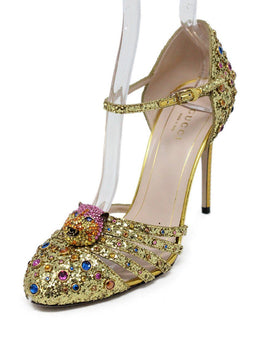 Gucci Metallic Gold Glitter Jewel Leather Shoes