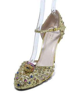 Heels Gucci Shoe Size US 8.5 Yellow Gold Glitter Rhinestone Shoes