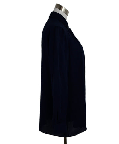 Gucci Navy Silk Pleated Trim Top Blouse 1