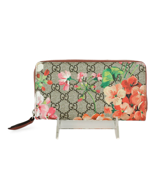 Wallet Gucci Pink Brown Monogram Floral Canvas Leather Goods 1