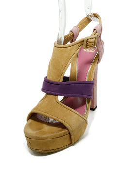 "Gucci Heels US 8.5 Pink Taupe Suede Purple ""as is"" Shoes 1"