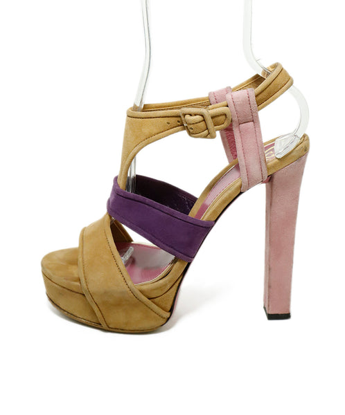 "Gucci Heels US 8.5 Pink Taupe Suede Purple ""as is"" Shoes 2"