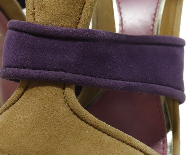 "Gucci Heels US 8.5 Pink Taupe Suede Purple ""as is"" Shoes 8"